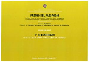 premio del paesaggio - regione sardegna - giovane progettista 2010